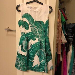 Palm Leaf Print Embossed Fit & Flare Dress